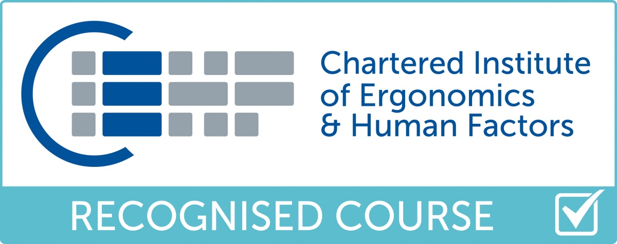 Chartered Institute of Ergonomics and Human Factor training course accreditation logo for enricoSmog's DSE assessor course